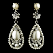 Antique Silver Clear Rhinestone & Diamond White Pearl Bridal Earrings 22585
