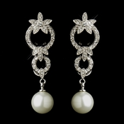 Antique Silver Ivory Pearl Drop & Clear CZ Crystal Bridal Earrings 9956