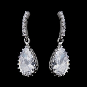 Silver Clear CZ Crystal Tear Drop Bridal Earrings 8786 ***Only 3 left***