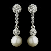 Antique Silver Clear Rhinestone and Diamond White Pearl Ball Bridal Earrings 8680