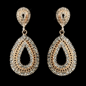 Rose Gold Plated Clear Rhinestone Earrings 1056