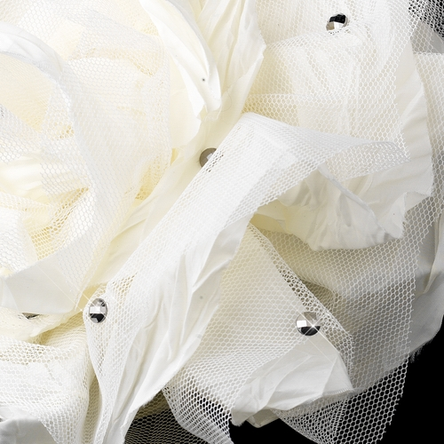 * Ivory Flower with Accented Rhinestones & Black Headband Headpiece 4029