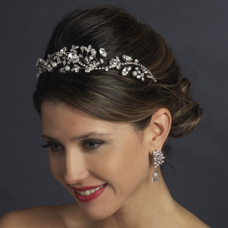 Antique Silver Diamond White Pearl Marquise Crystal Side Accented Tiara Headband 9970