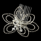 Antique Silver Clear Swarovski Crystal & Rhinestone Flower Comb 3672