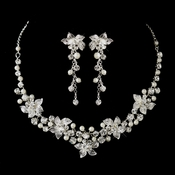 Silver White Pearl & Rhinestone Necklace & Earrings Bridal Jewelry Set 9533
