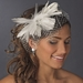 * Flower Feather Fascinator with Russian Tulle Veiling Accent on Comb 750