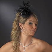 Black Feather Swarovski Cocktail Party Hat & Birdcage Veil 8366