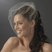 Single Layer Russian Birdcage Face Veil on Comb with Scalloping Pearl Edge V Cage 701