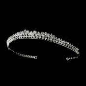 * Silver Clear Swarovski & Rhinestone Side Accented Bridal Tiara Headpiece 8412