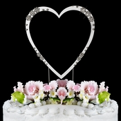 French Flower ~ Swarovski Crystal Wedding Cake Toppers ~ Hearts