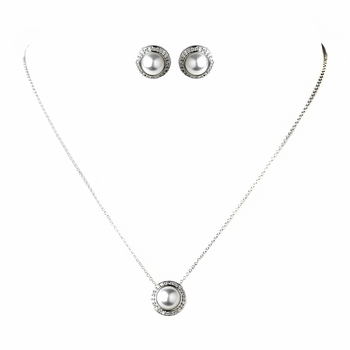 Solid 925 Sterling Silver Clear Rhinestone & White Pearl Necklace 8821 & Earrings 8821 Jewelry Set