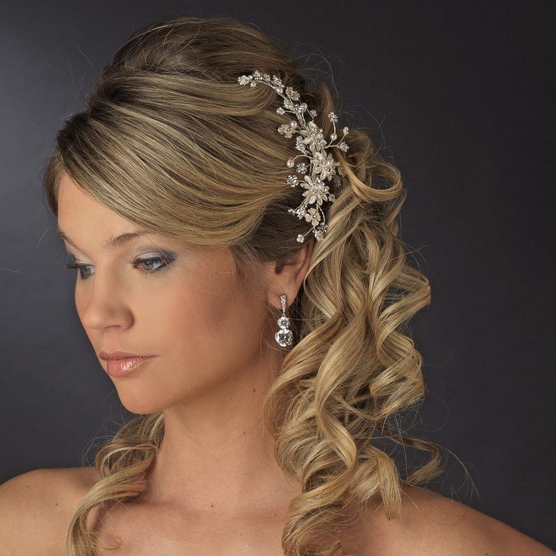 Wedding Hairstyle Prices: Elegant Floral Pearl Vine Hair Comb 7096 Gold