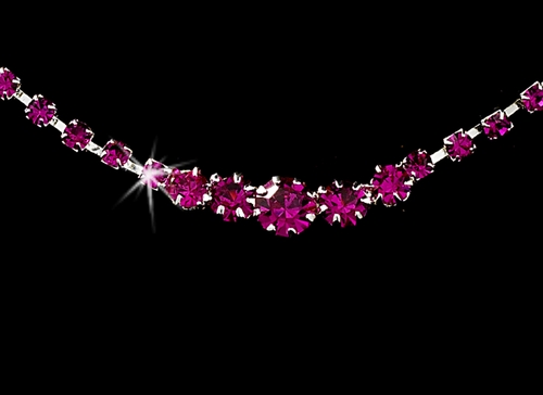 * Fuchsia Accented Crystal Jewelry Set NE 337