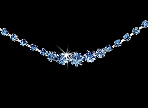 * Light Blue Accented Crystal Jewelry Set NE 337