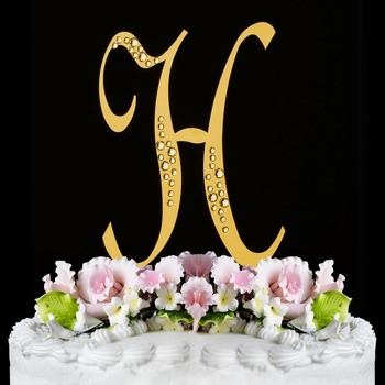 gold h wedding cake topper sparkle swarovski wedding cake topper gold 14786