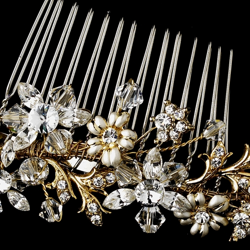 Striking Gold Floral Bridal Hair Comb w/ Austrian Crystals 8561
