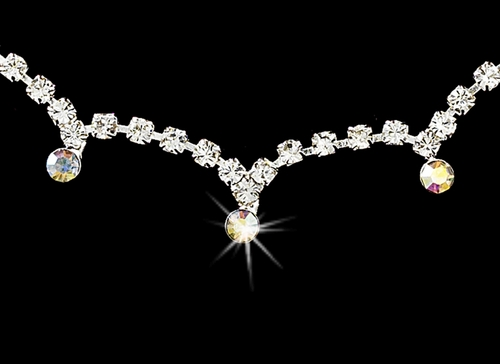 * Stunning Silver AB Crystal Accent Jewelry Set NE 325