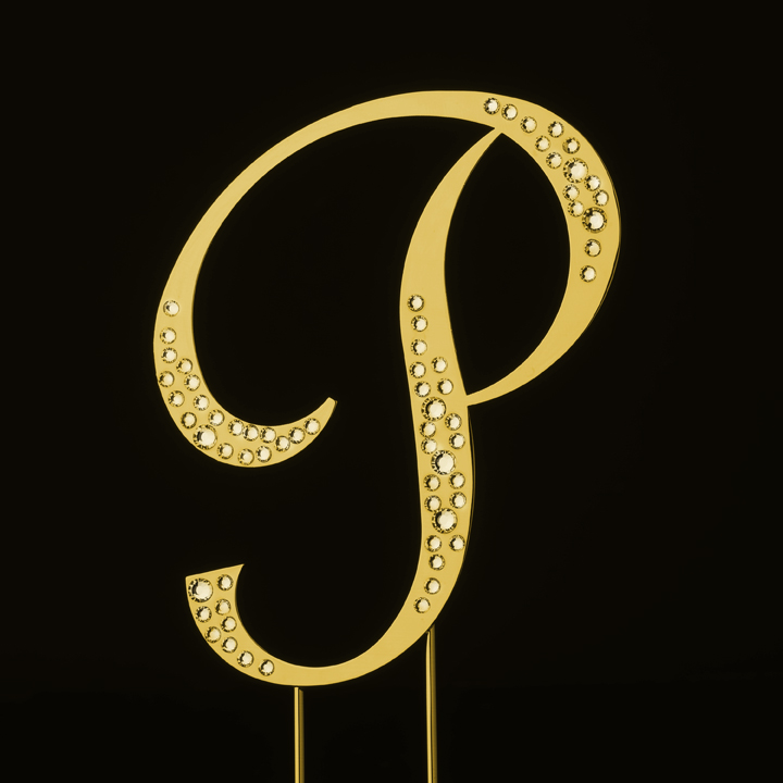 sparkle swarovski crystal wedding cake topper gold letter p