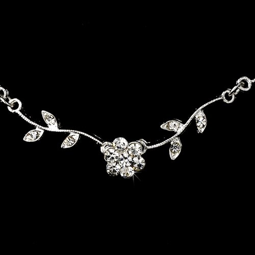 * Enchanting Silver Clear Floral Bridal Jewelry Set NE 330