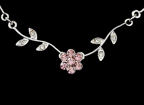 * Enchanting Silver Pink Floral Bridal Jewelry Set NE 330