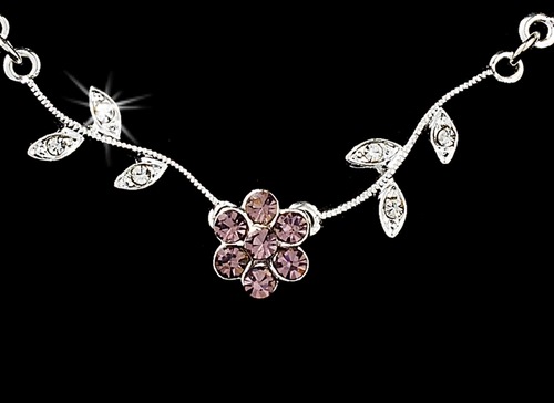 * Enchanting Silver Light Amethyst Floral Bridal Jewelry Set NE 330