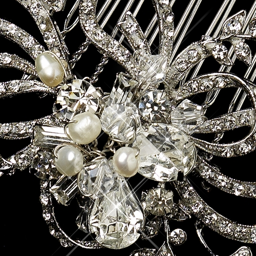 Antique Silver Freshwater Pearl & Crystal Swirl Comb 760