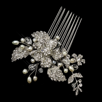 Antique Silver Freshwater Pearl, Swarovski Crystal & Rhinestone Flower and Leaf Comb 761