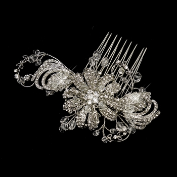 Antique Silver Clear Crystal & Rhinestone Flower Comb 763
