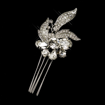 Antique Silver Clear Rhinestone Flower Comb 764