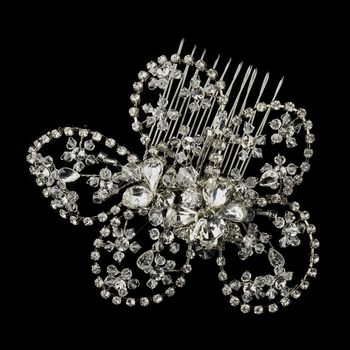 Antique Silver Clear Swarovski Crystal Bead & Rhinestone Floral Hair Comb 765