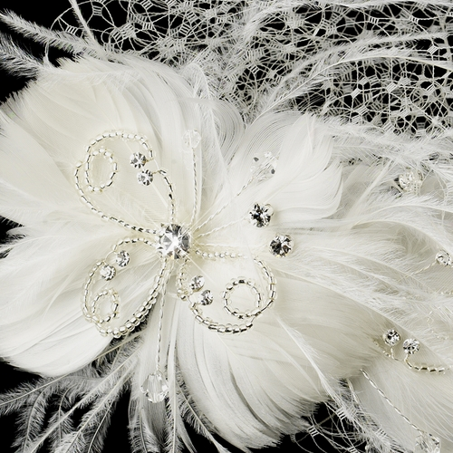* Swarovski Crystal, Rhinestone, Bead & Feather Comb 8995 with Cage Veil