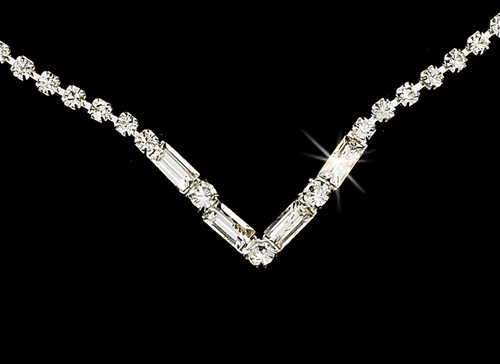Silver Clear Rhinestone Necklace & Earring Set NE 341