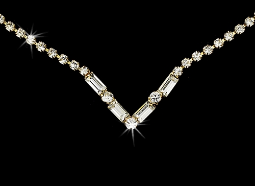 Gold Clear Rhinestone Necklace & Earring Set NE 341 **Discontinued**