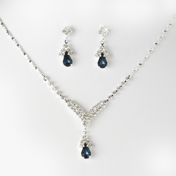 Silver Navy Blue Crystal Drop Jewelry Set NE 344