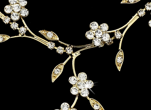 Beautiful Floral Gold Clear Jewelry Set NE 363
