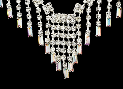 * Glamorous Silver AB Crystal Necklace & Earring Set NE 365 (ONLY 1 Left)