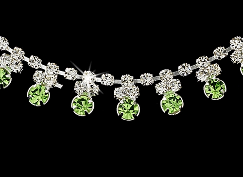 * Olive Green Accented Necklace & Earring Jewelry Set NE 358