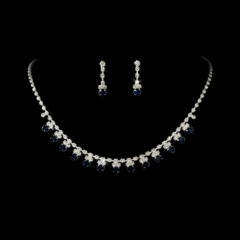 * Navy Blue Accented Necklace & Earring Jewelry Set NE 358