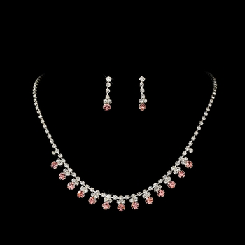 * Pink Accented Necklace & Earring Jewelry Set NE 358