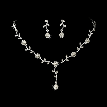* Charming Silver Clear Rhinestone & White Pearl Necklace & Earring Set 383