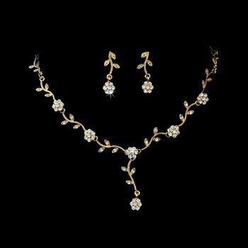* Charming Gold Clear Rhinestone Necklace & Earring Set 383