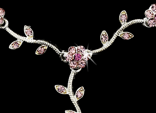 * Charming Silver Pink Rhinestone Necklace & Earring Set 383