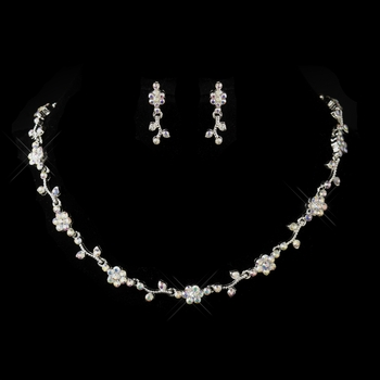 Silver AB Rhinestone Floral Necklace & Earrings Jewelry Set 385
