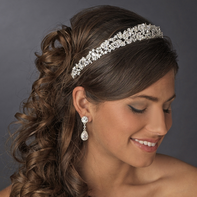 Majestic Gold Or Silver Clear Cz Bridal Tiara 9821