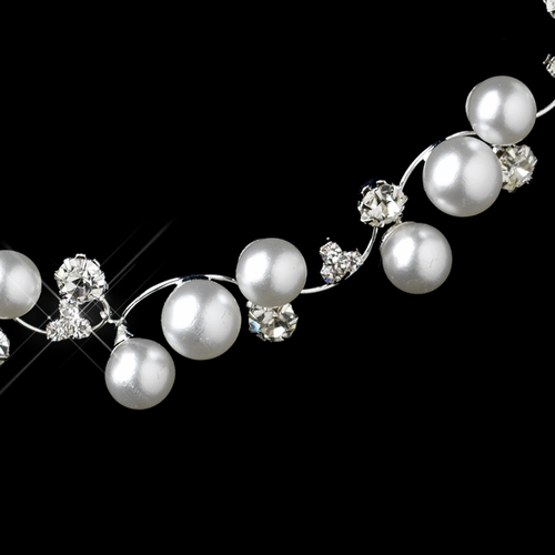 Silver White Pearl & Clear Rhinestone Necklace & Earrings Jewelry Set 8899***Discontinued****