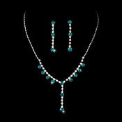 Necklace Earring Set NE 7157 Silver Aqua