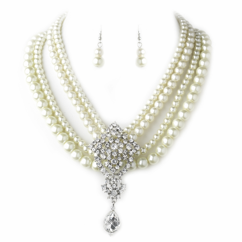 Antique Silver Ivory Pearl Amp Rhinestone Necklace