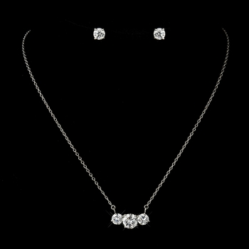 Antique Silver Clear Oval CZ Crystal Necklace & Earrings Bridal Jewelry Set 8721