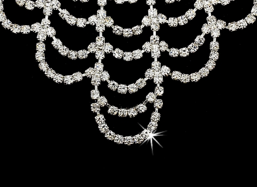 * Fabulous Silver Clear Crystal Chandelier Jewelry Set NE 366