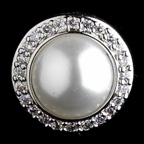 White Pearl & CZ Halo Solid 925 Sterling Silver Post Back Earrings 8821
